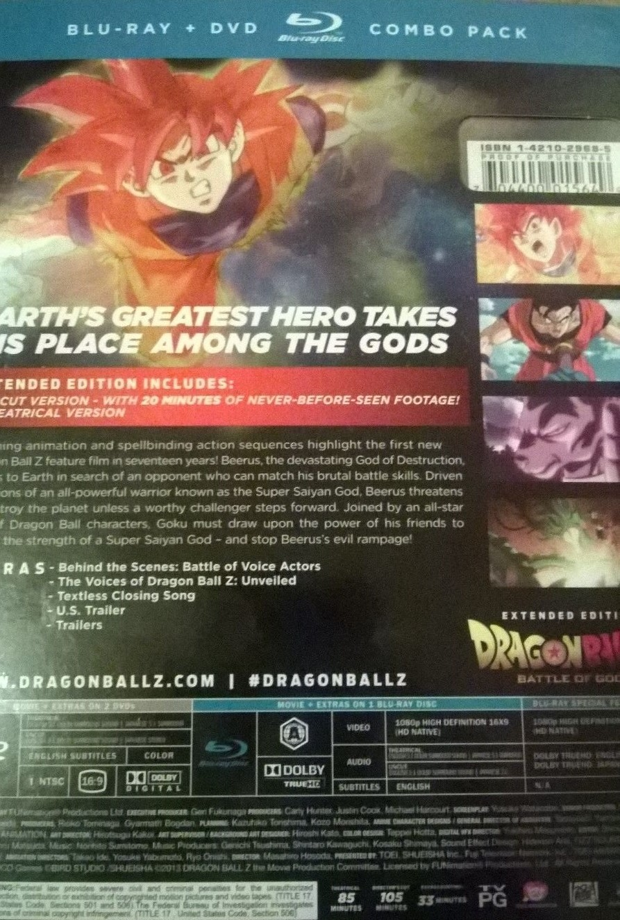 dragon ball z battle of gods blu ray dvd combo pack region